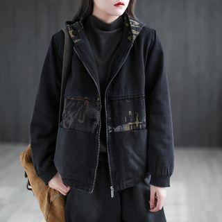 Hooded Denim Zip-up Jacket