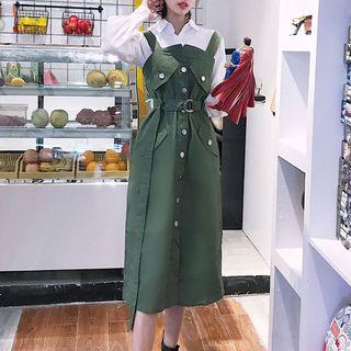 Plain Pinafore Midi Dress 1064589002