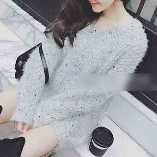 Image of Cutout Back Long-Sleeve Chunky Knit Dress