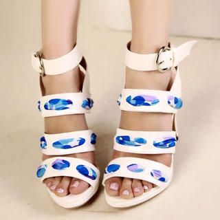 Buy Kvoll Chiffon-Detail Platform Sandals 1022892635