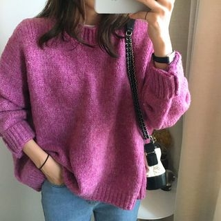 Drop-Shoulder Colored Knit Top 1063231480