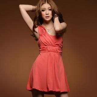 One-Shoulder Shirred Minidress