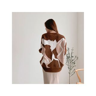 Loose-fit Print Sweater Brown - One Size