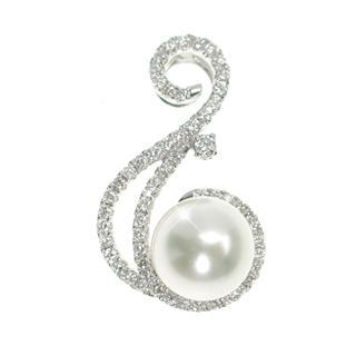 18K White Gold Pendant with Diamonds and Fresh Water Pearl