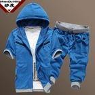 Set: Short-Sleeve Contrast-Trim Hooded Jacket + Drawstring Cropped Sweatpants 1596