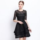 Short-Sleeve Ruffle Lace Dress 1596