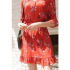 Tie-Waist Buttoned Floral Mini Dress 1596