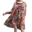 Set: Floral Print Long-Sleeve Chiffon Dress + Slip Dress 1596