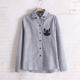 embroidered-cat-long-sleeve-blouse