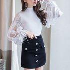 Set: Long-Sleeve Lace Panel Knit Top + Mini Skirt 1596
