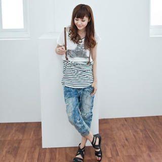 Buy LULUS Set: Print Cropped T-Shirt + Striped Tank Dress 1023056391