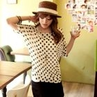 Dolman-Sleeve Dotted Knit Top
