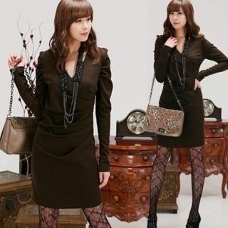 Buy IT GIRL STYLE Leg of Mutton Sleeve Wrap Dress 1022004892