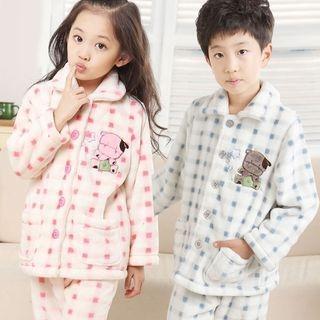 Kids Pajama Set: Fleece Embroidered Long Sleeve Top + Pants 1060576082