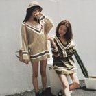 Striped Ribbed Sweater Dress 1596