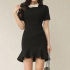 Short-Sleeve Sheath Ruffle Dress 1596