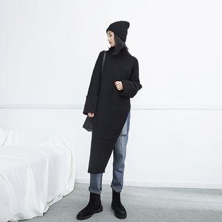 High-Neck Asymmetric Long Knit Top 1062703318