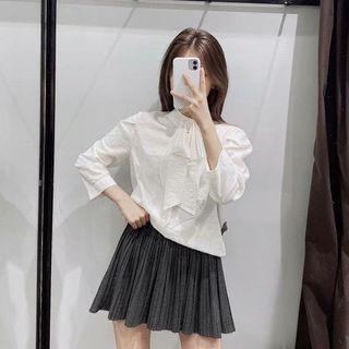 Image of 3/4-Sleeve Bow Blouse