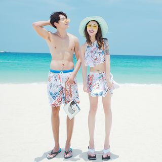Couple Matching Set: Printed Tankini + Swim Skirt / Swim Shorts 1061255007