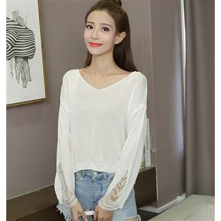 Long-Sleeve Distressed Knit Top White - One Size 1061532105