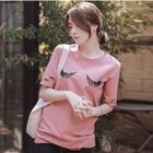 Elbow-Sleeve Sequined T-Shirt 1596