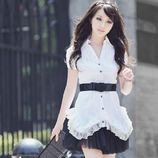 Picture of Melissa Ruffle-Hem Blouse 1022997920 (Melissa Tees, Womens Tees, Taiwan Tees, Causal Tops)