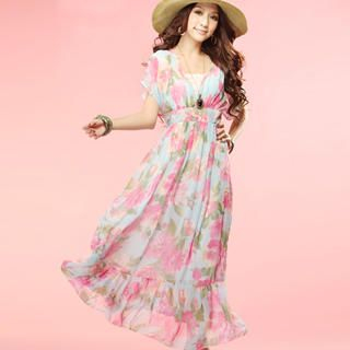 Buy Tokyo Fashion Floral Chiffon Empire Dress 1023065485