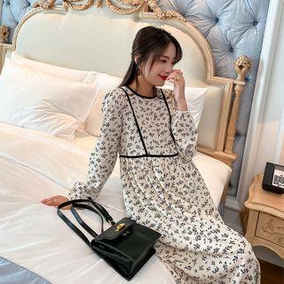 Maternity Long-sleeve Midi A-line Dress