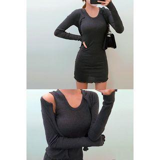 Set: Sleeveless Ribbed Dress + Open-Front Cardigan 1052753895