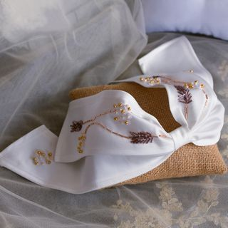 Image of Bridal Beaded Ribbon Hair Clip White - One Size