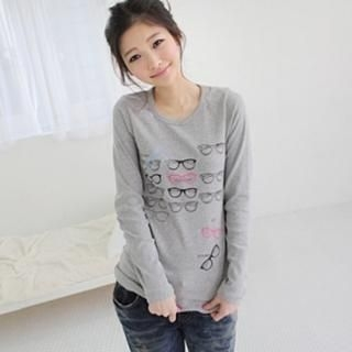 Picture of CLICK Long-Sleeve Printed Tee 1022114545 (CLICK Dresses, Womens Dresses, South Korea Dresses, Long-Sleeve Dresses)