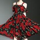 Strappy Floral A-line Midi Dress 1596
