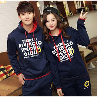 Couple Matching Set: Lettering Hoodie + Sweatpants
