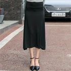Band-Waist A-Line Long Skirt 1596