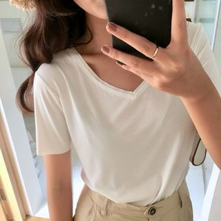 Short-Sleeve V-Neck Ribbed T-Shirt 1067333157