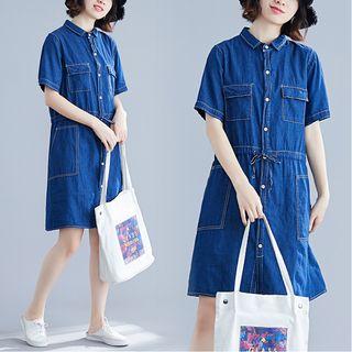 Button   Denim   Dress   Blue   Size   One