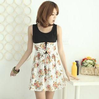 Buy CatWorld Lace-Up Sleeveless Floral Print Dress 1022574203