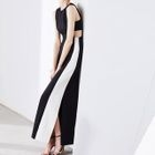Cut Out Color Block Sleeveless A-Line Maxi Dress 1596