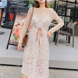 Set: Rib Knit Top + Sleeveless Lace Dress 1065457490
