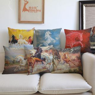 Image of Horse Printed Sofa Cushion Cover