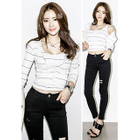 Set: Striped Cardigan + Cropped Striped Tank Top от YesStyle.com INT