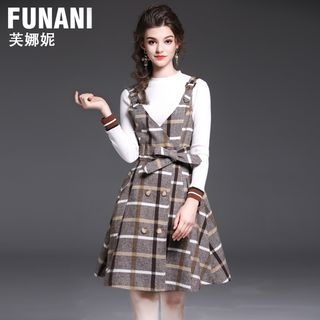 Set: Rib Knit Top + Plaid A-Line Pinafore Dress 1062587369