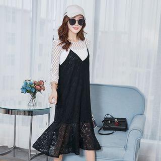 Set: Lace Top + Spaghetti-Strap Lace Dress 1058061086