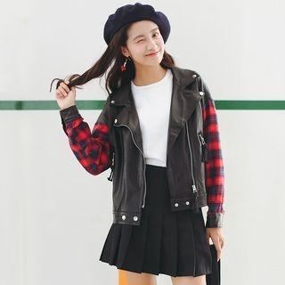 Plaid Panel Faux Leather Jacket 1053953840