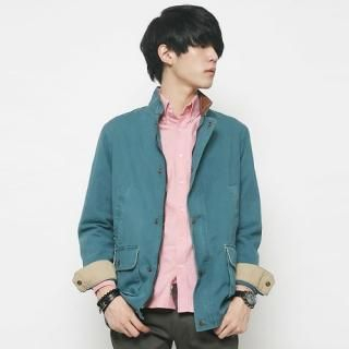 Flap-Pocket Snap-Button Jacket
