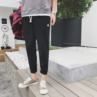 Smiley Face Embroidered Slim Fit Pants