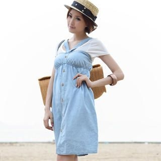 Picture of 19th Street Sleeveless Button-Up Empire Dress 1023030701 (19th Street Dresses, Womens Dresses, China Dresses, Sleeveless Dresses)