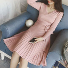 Long-Sleeved Wrap Sweater Dress 1596