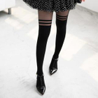 Striped Two-Tone Tights Black - One Size 1596