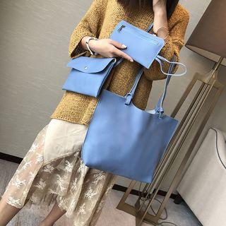 Set: Faux Leather Handbag + Crossbody Bag
